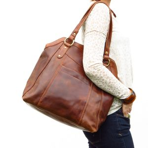 Large Distressed Leather Shopper Tote - bags