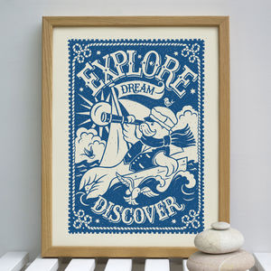 Explore, Dream, Discover Nautical Sailing Print