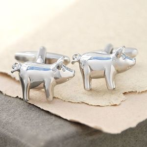 Personalised Pig Cufflinks - cufflinks
