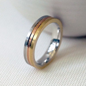 18ct Gold Striped Wedding Ring - rings