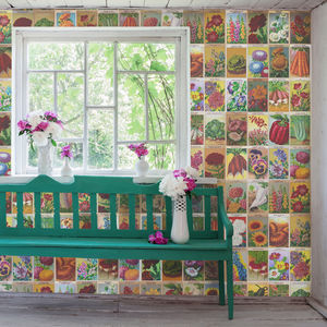 Vintage French Seed Packet Wallpaper