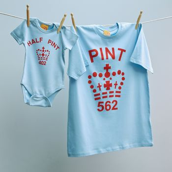 Matching Pint T Shirt Set With Babygrow For Dads