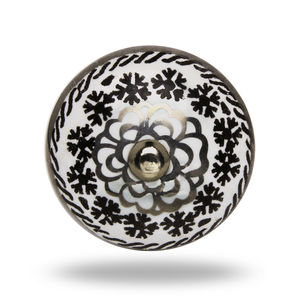 Ceramic Eastern Flower Knob In Black And White