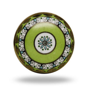 Ceramic Tessellate Decorative Knob In Green And Blue