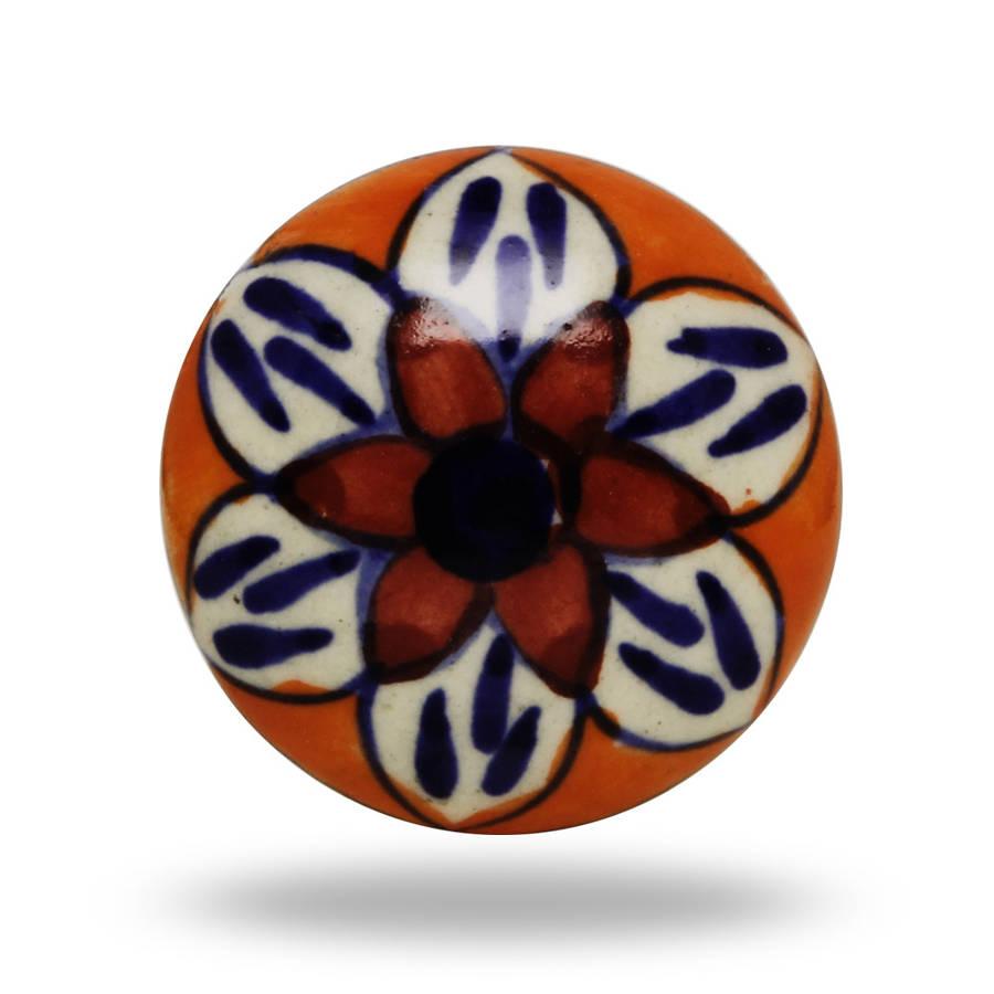 Round Ceramic Madox Flower Knob In Orange And Red