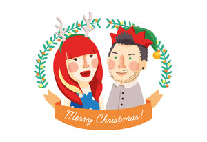 Personalised Couples Illustration Or Christmas Card - seasonal cards