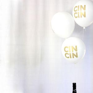 'Cin Cin' Gold Print Balloons - room decorations