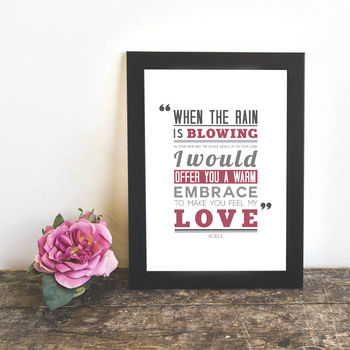 'Make You Feel My Love' Typography Print