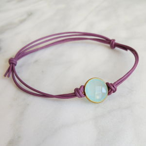 Chalcedony And Leather Bracelet