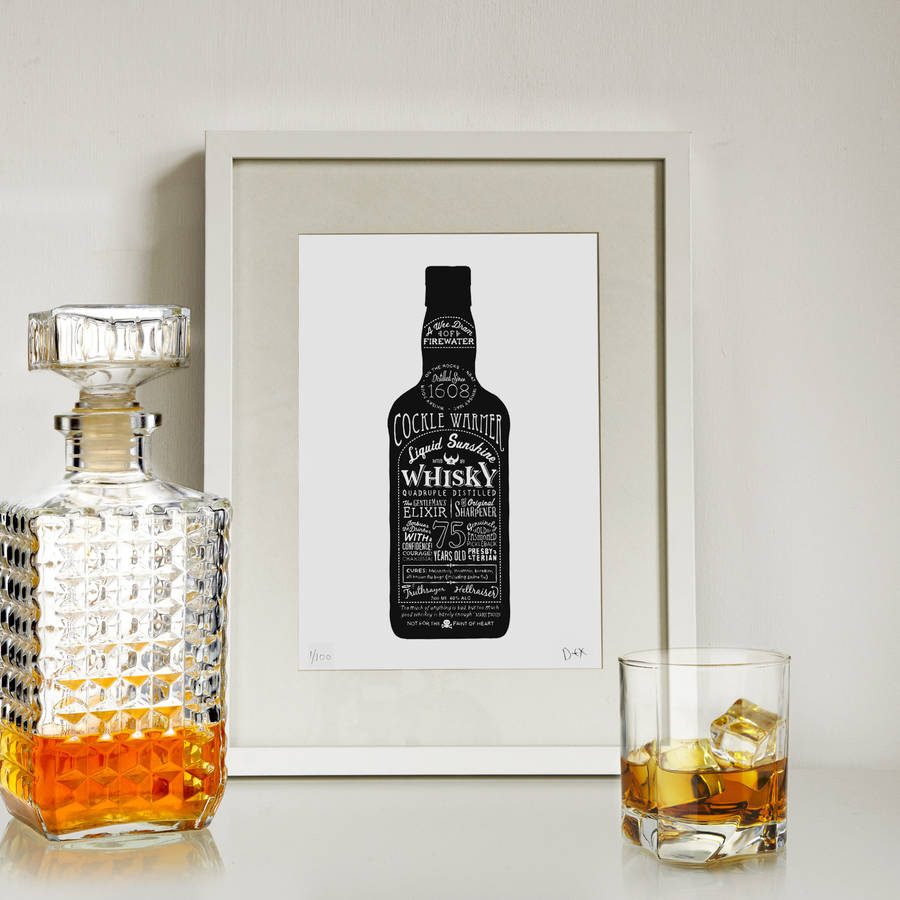 39 liquid sunshine 39 whisky bottle art print by run for the