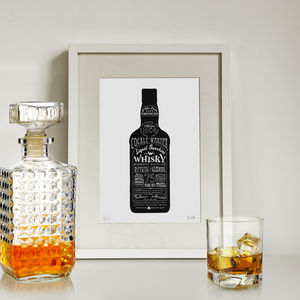 'Liquid Sunshine' Whisky Bottle Art Print - contemporary art