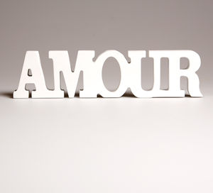 White 'Amour' Decorative Letters
