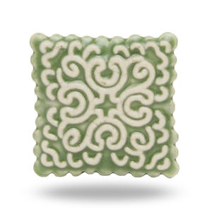 Square Ceramic Stamp Knob In Light Green - home accessories
