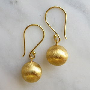 Brushed Gold Puff Ball Drop Earrings - earrings
