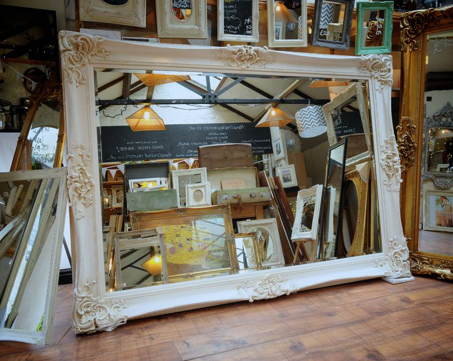 Firebrandcattery Creating Oversized Wall Mirrors: Huge Oversized Ivory Mirror By Hand Crafted Mirrors