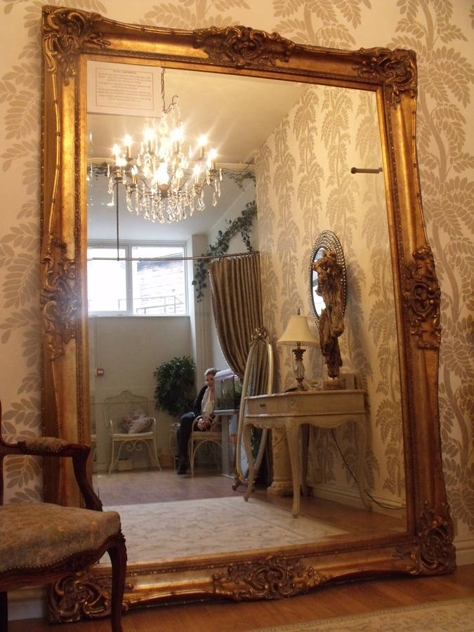 Huge Oversized Ivory Mirror By Hand Crafted Mirrors
