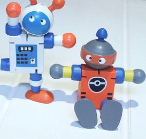 Wooden Orange Retro Flexible Robot - toys & games
