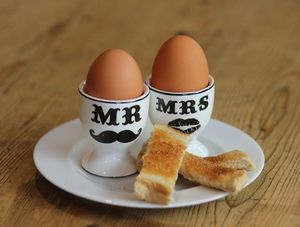 A Set Mr And Mrs Moustache Egg Cups