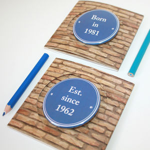 Personalised Blue Plaque Birthday Badge Card