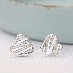 Sculpted Silver Heart Stud Earrings