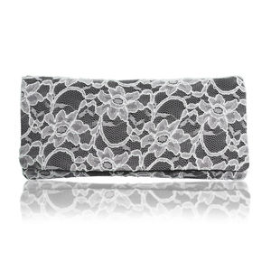 Astrid Black Or Navy And Ivory Lace Clutch - womens