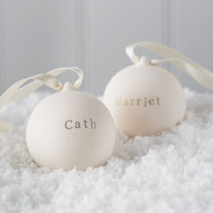 Personalised Metallic Classic Ceramic Bauble - tree decorations
