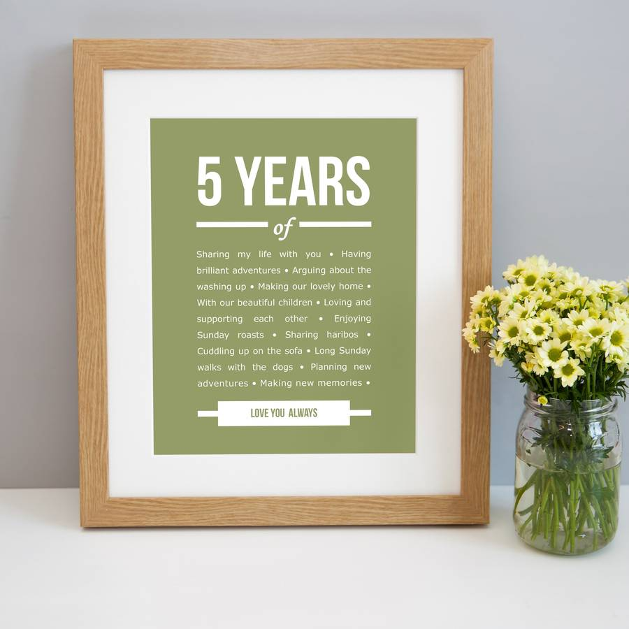5 year anniversary picture frame