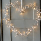 Fairy Light Heart Wreath - christmas decorations