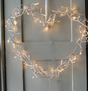 Fairy Light Heart Wreath - decorations