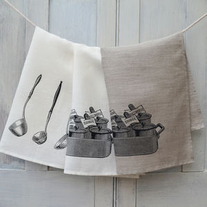 Linen Tea Towel French Sauces - kitchen accessories