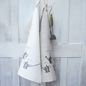 Linen Tea Towel Vintage Watering Cans