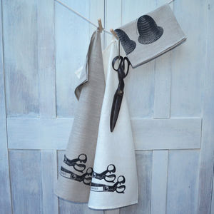 Linen Tea Towel Vintage Scissors