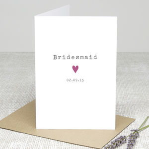 'Bridesmaid Heart' Personalised Card - wedding stationery