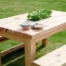 Chunky Wood Planter/Drinks Dining Table And Benches Set