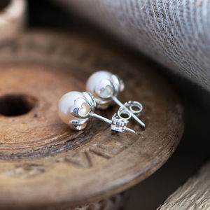 Pearl Heart Studs - women's jewellery