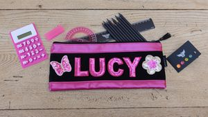 Personalised Long Pink Pencil Case