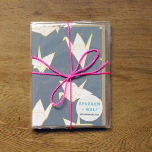 Set Of Six Origami Crane Greetings Cards - shop by category