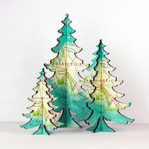 Antarctica Map Table Top Christmas Tree - christmas trees