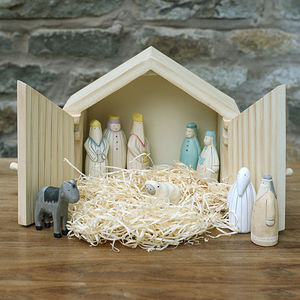 Large Wooden Nativity Scene In A Stable