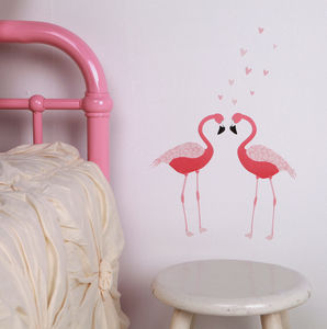 Mini Pink Flamingo Wall Stickers