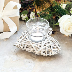 Wicker Heart Candle Tea Light Holder - home