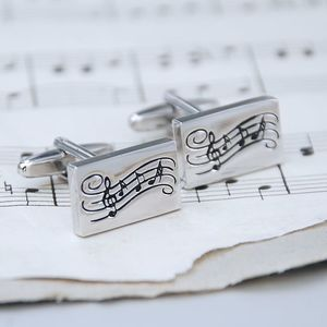 Personalised Music Notes Cufflinks - men's jewellery