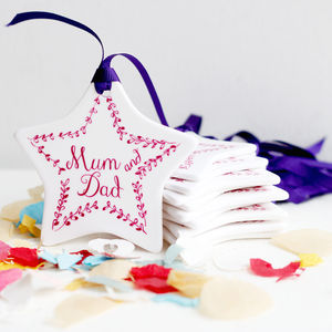 Set Of Wedding Ceramic Star Place Names And Favours