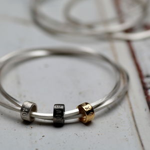 Personalised Silver Bead Bangle - jewellery gifts for friends
