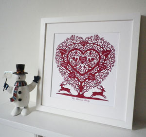Personalised Christmas Family Tree Heart Print