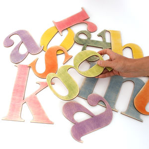Hand Stained Wooden Alphabet Letters - outdoor decorations