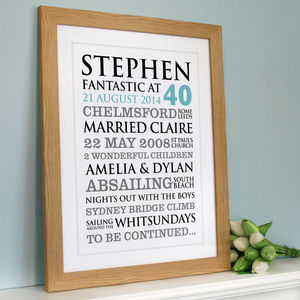 Personalised Birthday Typographic Art Print - 40th birthday gifts