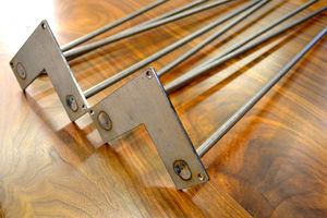 Pack Of Four Two Rod Clear Coated Hairpin Legs - dining tables