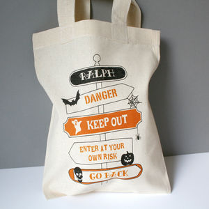 Personalised Halloween 'Signpost' Trick Or Treat Bag
