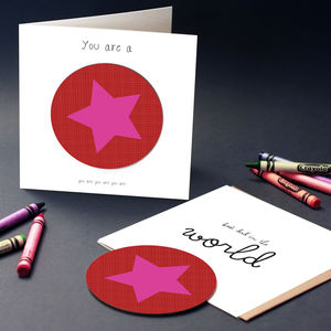 Star Greeting Card With Coaster - leaving cards